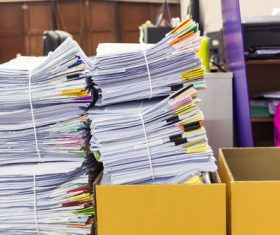Files stacked in the office Stock Photo