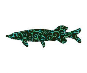 Fish spiral pattern design vector 01