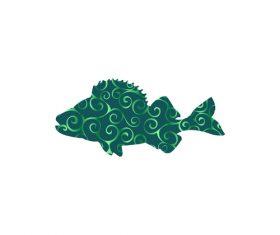 Fish spiral pattern design vector 03