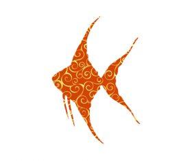 Fish spiral pattern design vector 09