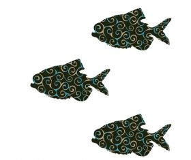 Fish spiral pattern design vector 13