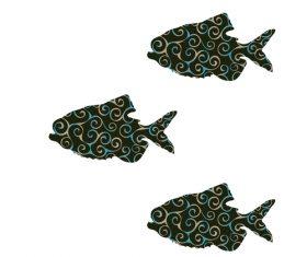 Fish spiral pattern design vector 13