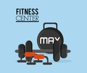 Fitness center sign design vectors 01