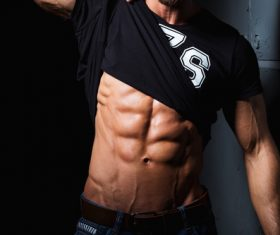 Fitness male abdominal muscles Stock Photo 09