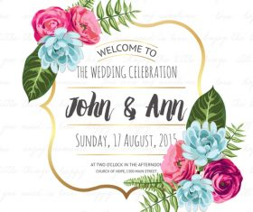 Flower frame with wedding invitation vector