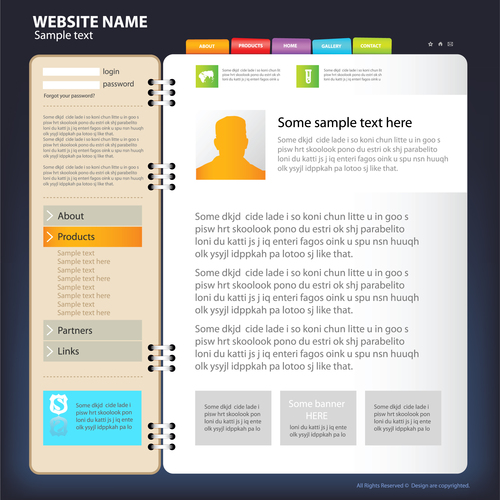 Fold style website template vector