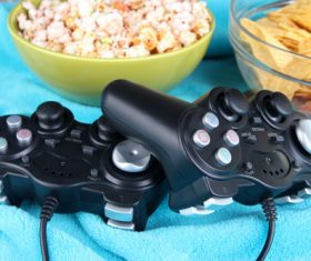 Gamepad on the desktop Stock Photo