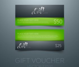 Gift vouchers green template vector 01