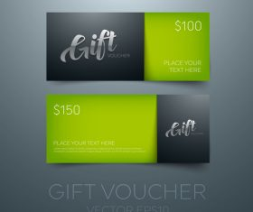 Gift vouchers green template vector 02