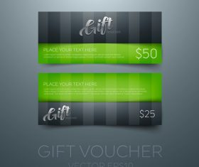 Gift vouchers green template vector 03