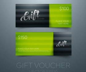 Gift vouchers green template vector 04