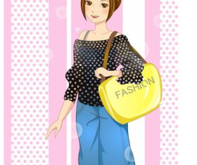 Girl carrying bag vector