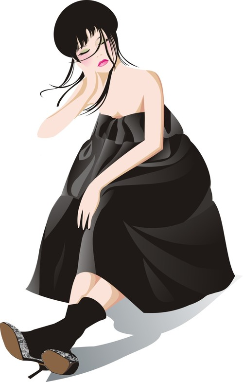 Girl with eyes closed vector