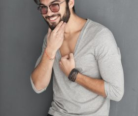 Glamour male smile Stock Photo 01