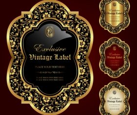 Gold framed labels – vector set (1)