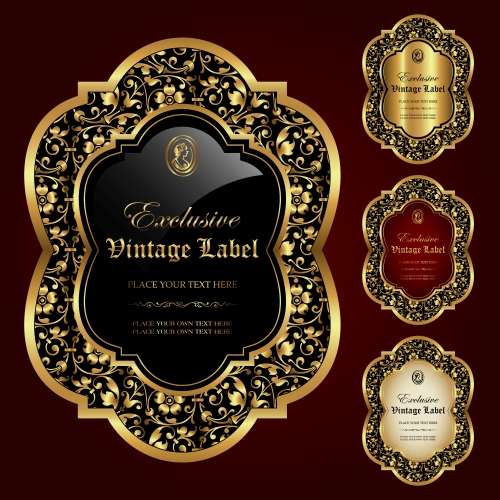 Gold framed labels   vector set (1)