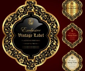 Gold framed labels – vector set (2)