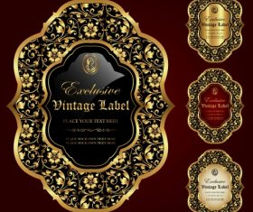 Gold framed labels – vector set (3)
