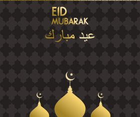 Golden Eid mubarak decorative with black background vector 01