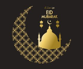 Golden Eid mubarak decorative with black background vector 05