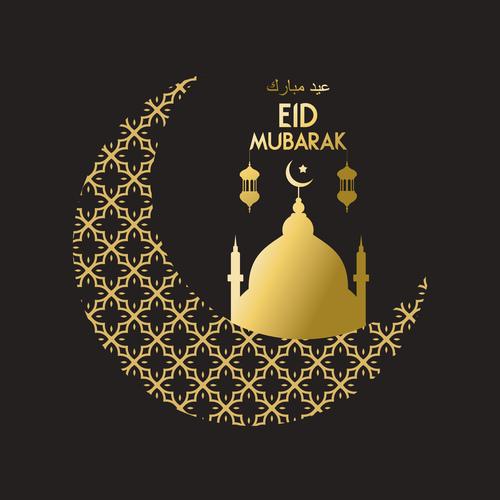 Golden Eid mubarak decorative with black background vector 05