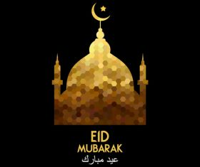 Golden Eid mubarak decorative with black background vector 07