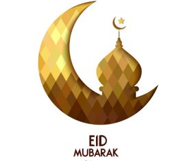 Golden Eid mubarak decorative with white background vector 01