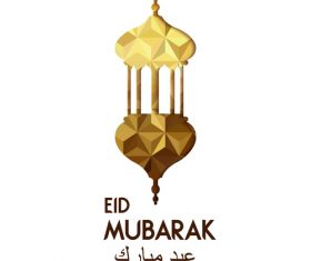 Golden Eid mubarak decorative with white background vector 02