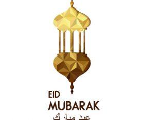 Golden Eid mubarak decorative with white background vector 02