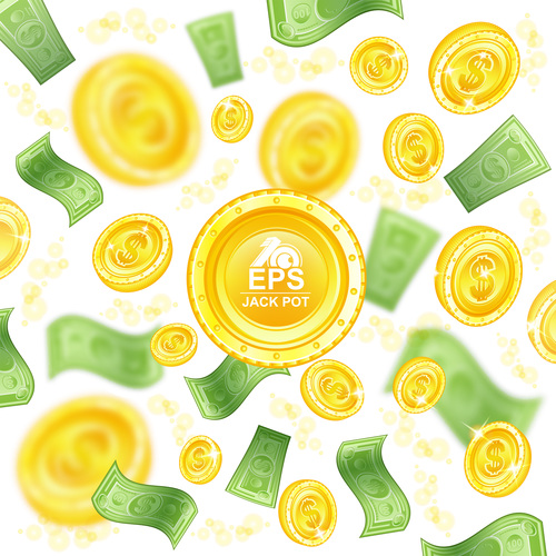 Golden coins and banknotes vector background 01