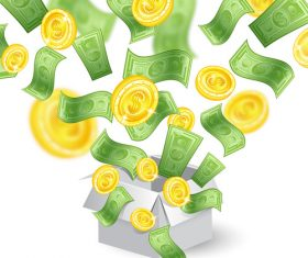Golden coins and banknotes vector background 02