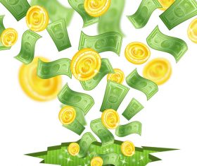 Golden coins and banknotes vector background 03