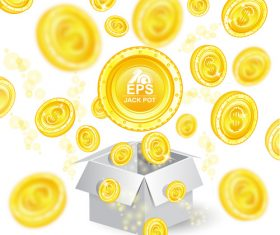 Golden coins shiny background vector 01