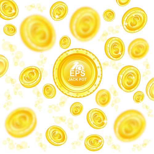 Golden coins shiny background vector 03