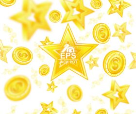 Golden coins with star background vector 01