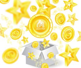 Golden coins with star background vector 02