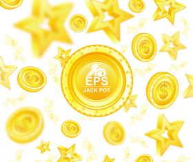 Golden coins with star background vector 03