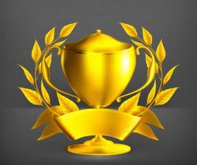 Golden cup trophy illustration vector 06