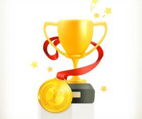 Golden cup trophy illustration vector 10