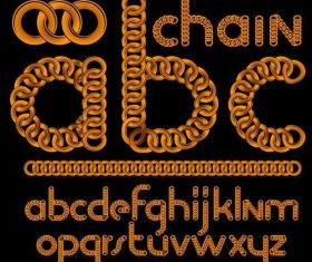 Golden metal ring alphabet vector