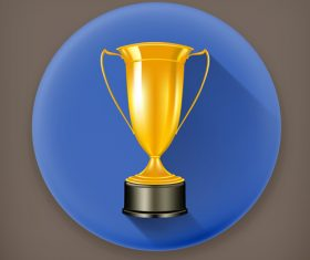 Golden prize with round blue backgound vector