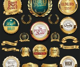 Golden retro labels badges frames and ribbons vector 01