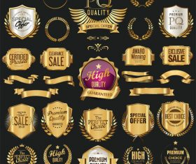 Golden retro labels badges frames and ribbons vector 02
