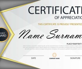 Gray certificate template design vectors