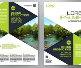 Green brochure cover vector template material 01