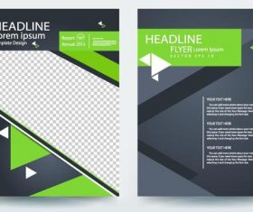 Green brochure cover vector template material 02