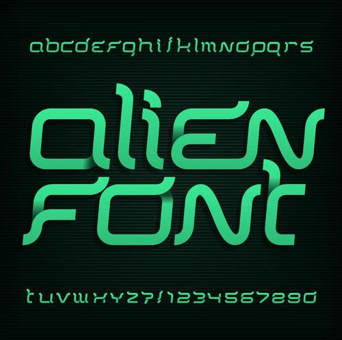 Green ribbon alphabet vector