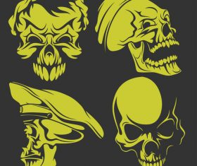 Green skull head pattern for tattoos with t-shirt vector 01