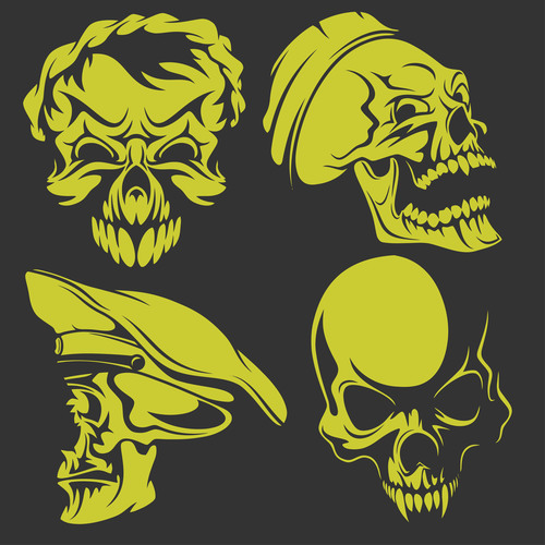 Green skull head pattern for tattoos with t shirt vector 01