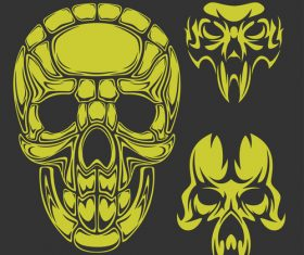 Green skull head pattern for tattoos with t-shirt vector 02